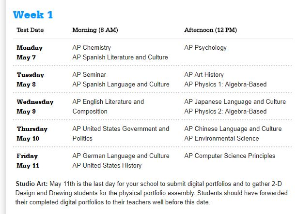 AP Week 1 Schedule
