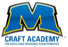 A blue capital m with craft academy for excellence in science and mathematics underneath the m.