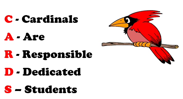 School motto and picture of a cardinal
