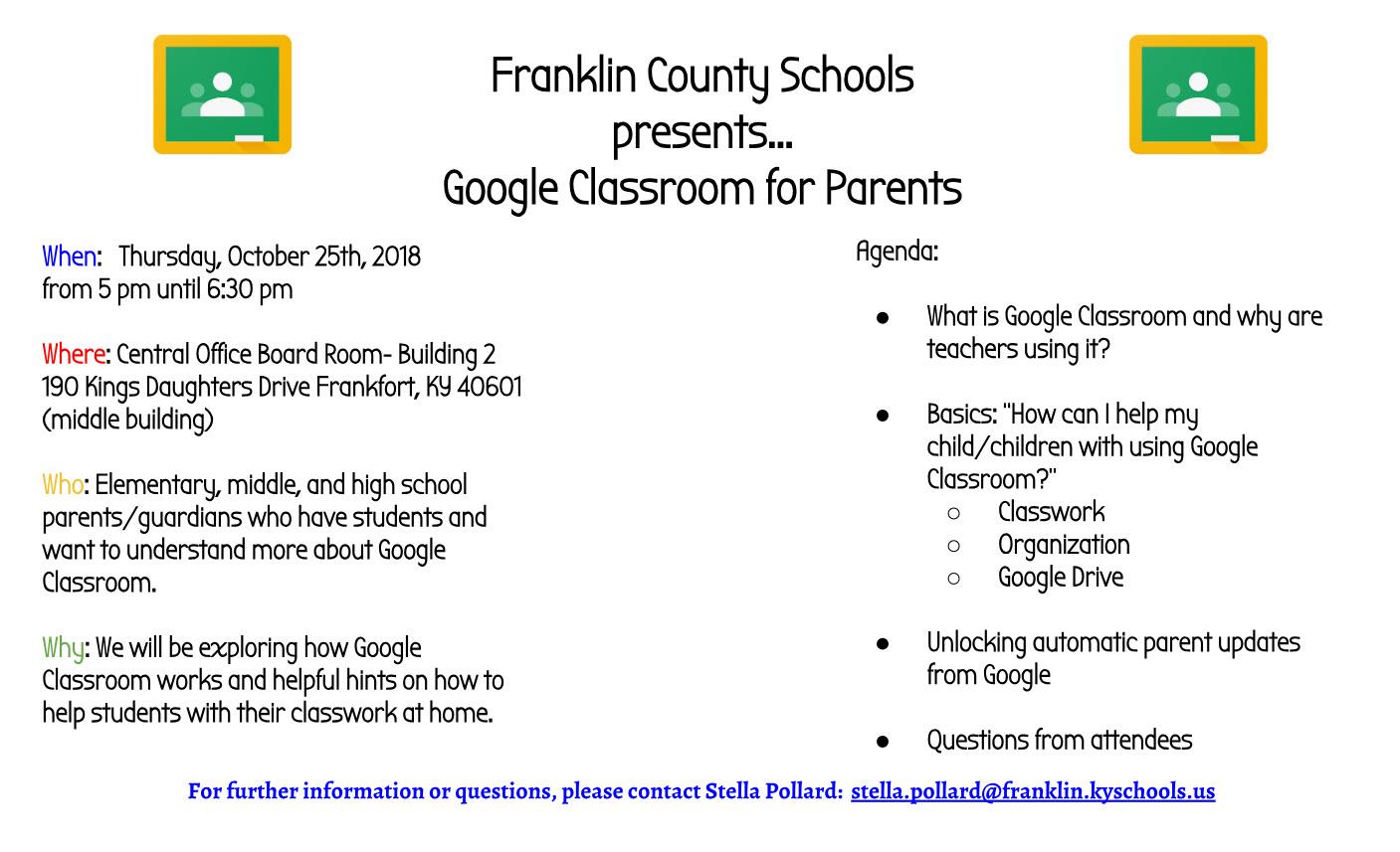 Google Classroom flier